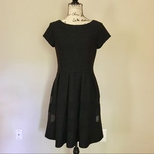 Taylor fit and flair ribbed knit dress. Black
